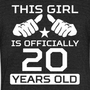 This Girl Is 20 Years Funny 20th Birthday - Unisex Tri-Blend T-Shirt by American Apparel