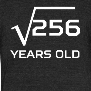 Square Root 256 Funny 16 Years Old 16th Birthday - Unisex Tri-Blend T-Shirt by American Apparel