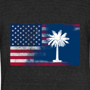 South Carolina American Flag - Unisex Tri-Blend T-Shirt by American Apparel