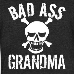 Bad Ass Grandma Skull Grandparents Day - Unisex Tri-Blend T-Shirt by American Apparel