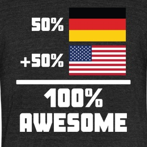 50% German 50% American 100% Awesome Funny Flag - Unisex Tri-Blend T-Shirt by American Apparel
