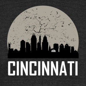 Cincinnati Full Moon Skyline - Unisex Tri-Blend T-Shirt by American Apparel