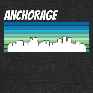 Retro Anchorage Skyline - Unisex Tri-Blend T-Shirt by American Apparel