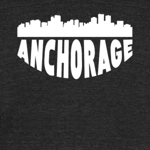 Anchorage AK Cityscape Skyline - Unisex Tri-Blend T-Shirt by American Apparel