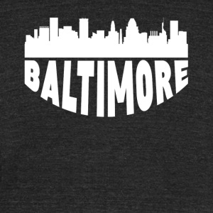 Baltimore MD Cityscape Skyline - Unisex Tri-Blend T-Shirt by American Apparel