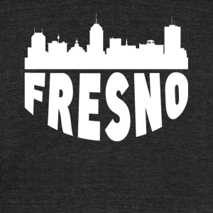 Fresno CA Cityscape Skyline - Unisex Tri-Blend T-Shirt by American Apparel