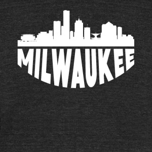 Milwaukee WI Cityscape Skyline - Unisex Tri-Blend T-Shirt by American Apparel
