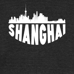 Shanghai China Cityscape Skyline - Unisex Tri-Blend T-Shirt by American Apparel