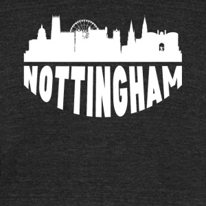 Nottingham England Cityscape Skyline - Unisex Tri-Blend T-Shirt by American Apparel