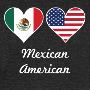Mexican American Flag Hearts - Unisex Tri-Blend T-Shirt by American Apparel