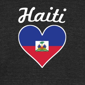 Haiti Flag Heart - Unisex Tri-Blend T-Shirt by American Apparel