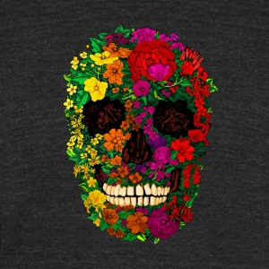 Rainbow Flowers Skull - Unisex Tri-Blend T-Shirt by American Apparel