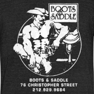 Boots and Saddle - Unisex Tri-Blend T-Shirt by American Apparel