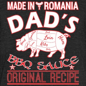 Made In Romania Dads BBQ Sauce Original Recipe - Unisex Tri-Blend T-Shirt by American Apparel