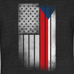 Czech American Flag - Unisex Tri-Blend T-Shirt by American Apparel