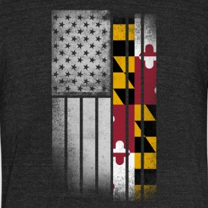 USA Vintage Maryland State Flag - Unisex Tri-Blend T-Shirt by American Apparel