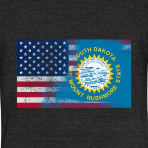 South Dakota American Flag Fusion - Unisex Tri-Blend T-Shirt by American Apparel