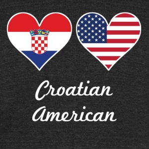 Croatian American Flag Hearts - Unisex Tri-Blend T-Shirt by American Apparel