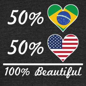 50% Brazilian 50% American 100% Beautiful - Unisex Tri-Blend T-Shirt by American Apparel