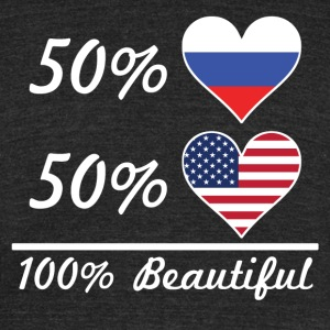 50% Russian 50% American 100% Beautiful - Unisex Tri-Blend T-Shirt by American Apparel
