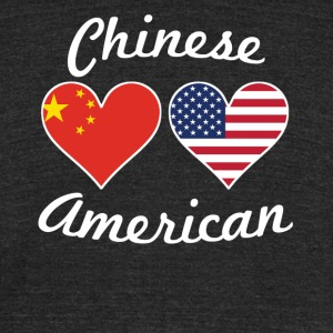 Chinese American Flag Hearts - Unisex Tri-Blend T-Shirt by American Apparel