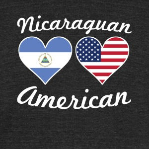 Nicaraguan American Flag Hearts - Unisex Tri-Blend T-Shirt by American Apparel