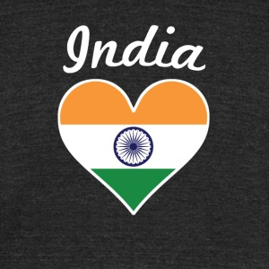 India Flag Heart - Unisex Tri-Blend T-Shirt by American Apparel