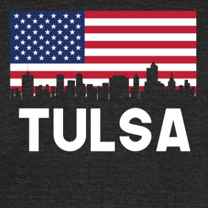 Tulsa OK American Flag Skyline - Unisex Tri-Blend T-Shirt by American Apparel