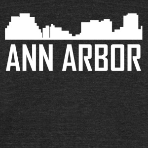 Ann Arbor Michigan City Skyline - Unisex Tri-Blend T-Shirt by American Apparel