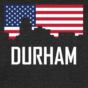 Durham North Carolina Skyline American Flag - Unisex Tri-Blend T-Shirt by American Apparel