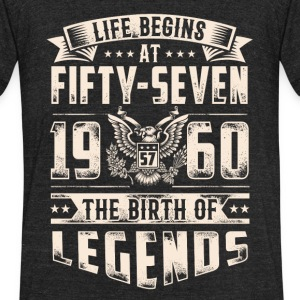 Life Begins at Fifty-Seven Legends 1960 for 2017 - Unisex Tri-Blend T-Shirt by American Apparel