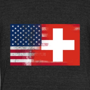 Swiss American Half Switzerland Half America Flag - Unisex Tri-Blend T-Shirt by American Apparel