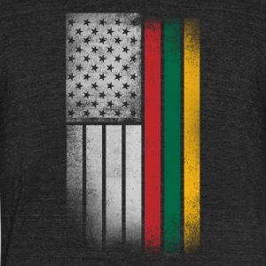 Lithuanian American Flag - Unisex Tri-Blend T-Shirt by American Apparel