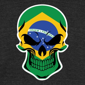 Brazilian Flag Skull - Unisex Tri-Blend T-Shirt by American Apparel