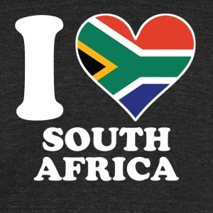 I Love South Africa South African Flag Heart - Unisex Tri-Blend T-Shirt by American Apparel
