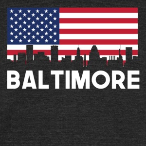 Baltimore MD American Flag Skyline - Unisex Tri-Blend T-Shirt by American Apparel