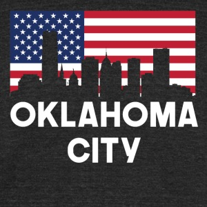 Oklahoma City OK American Flag Skyline - Unisex Tri-Blend T-Shirt by American Apparel