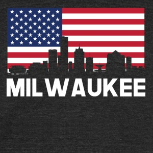 Milwaukee WI American Flag Skyline - Unisex Tri-Blend T-Shirt by American Apparel