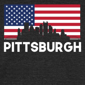 Pittsburgh PA American Flag Skyline - Unisex Tri-Blend T-Shirt by American Apparel