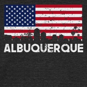 Albuquerque NM American Flag Skyline Distressed - Unisex Tri-Blend T-Shirt by American Apparel