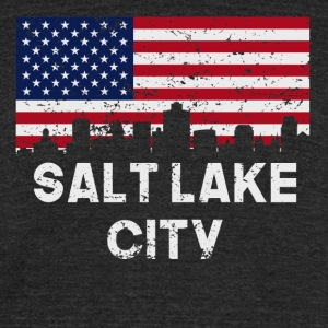 Salt Lake City American Flag Skyline Distressed - Unisex Tri-Blend T-Shirt by American Apparel