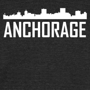 Anchorage Alaska City Skyline - Unisex Tri-Blend T-Shirt by American Apparel