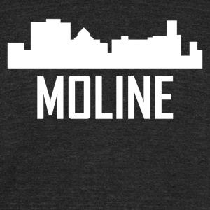 Moline Illinois City Skyline - Unisex Tri-Blend T-Shirt by American Apparel