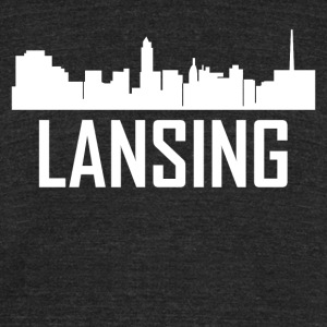 Lansing Michigan City Skyline - Unisex Tri-Blend T-Shirt by American Apparel