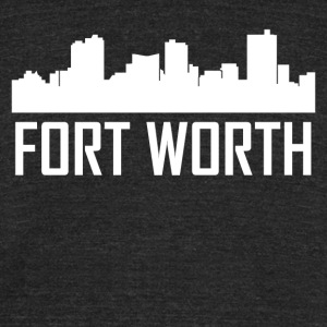 Fort Worth Texas City Skyline - Unisex Tri-Blend T-Shirt by American Apparel