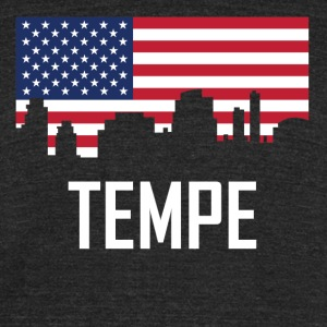 Tempe Arizona Skyline American Flag - Unisex Tri-Blend T-Shirt by American Apparel