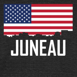 Juneau Alaska Skyline American Flag - Unisex Tri-Blend T-Shirt by American Apparel