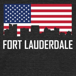 Fort Lauderdale Florida Skyline American Flag - Unisex Tri-Blend T-Shirt by American Apparel