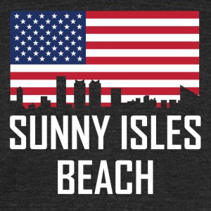 Sunny Isles Beach Florida Skyline American Flag - Unisex Tri-Blend T-Shirt by American Apparel