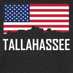 Tallahassee Florida Skyline American Flag - Unisex Tri-Blend T-Shirt by American Apparel
